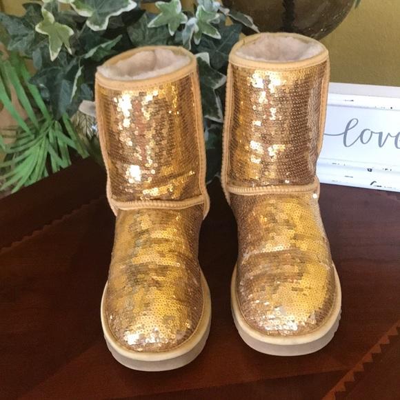 b9f3a309d1e UGG Gold Sequin Classic Short Boots